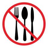 Ne mangez pas l'icône Symbole de couverts Couteau, cuillère et fourchette Aucun signe de nourriture illustration libre de droits