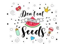 Ne mangez pas le lettrage de citation de grossesse de graines de pastèque illustration stock