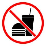 Ne mangez pas ou ne buvez pas le signe Photographie stock