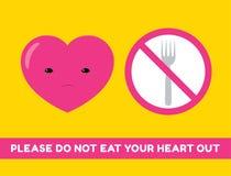 Ne mangez pas votre autocollant de coeur illustration stock