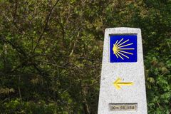 Indicator on the road to Santiago. Ne of many indicare that we are on our pilgrimage to Santiago de Compostela Royalty Free Stock Photos