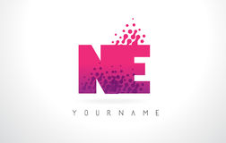 NE N.E.与桃红色紫色颜色和微粒小点Des的Letter Logo 库存图片