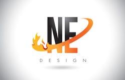 NE N.E.与火火焰设计和橙色Swoosh的Letter Logo 免版税库存图片