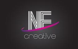 NE N.E.与线设计和紫色Swoosh的Letter Logo 库存图片