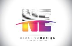 Ne N.E. Letter Logo Design With Creative Lines et Swosh dans Purpl Photo stock