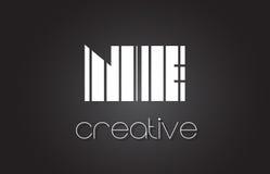 Ne N.E. Letter Logo Design With White et lignes noires Image libre de droits