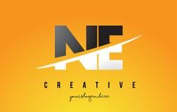 Ne N.E. Letter Modern Logo Design avec le fond jaune et le Swoo illustration de vecteur