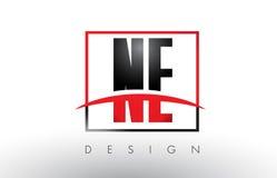 Ne nord-est Logo Letters avec des couleurs et le bruissement rouges et noirs Photos stock