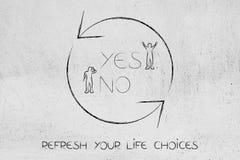 Ne régénérez le symbole avec l'oui et aucune option avec l'homme heureux et triste Images stock