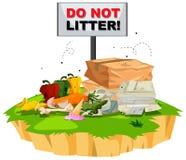 Ne salissez pas le signe avec des déchets dessous illustration de vecteur