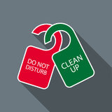 Ne touchez pas et ne nettoyez pas à l'icône de cintres de porte Photos libres de droits
