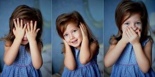 Ne voir l'aucun mal, l'entendez, parlez Bébé 3 ans photographie stock