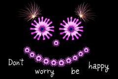Ne vous inquiétez pas soit concept heureux de message Images stock