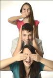 Ne voyez pas n'entendent pas ne parlent pas des familles photographie stock libre de droits