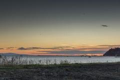 Nea Agathoupoli Sunrise, Centraal Macedonië Stock Foto