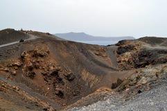 Nea Kameni,希腊火山的火山口。 库存图片