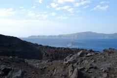 Nea Kameni Santorini Grèce Photos libres de droits