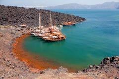 Nea Kameni volcanic island, Santorini Royalty Free Stock Images