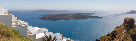 Nea Kameni volcanic island in Santorini Greece Royalty Free Stock Photography