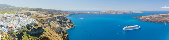 Nea Kameni volcanic island in Santorini Greece Royalty Free Stock Photos