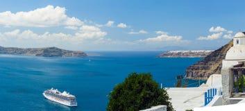 Nea Kameni volcanic island in Santorini Greece Royalty Free Stock Photo