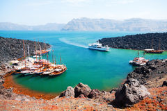 Nea Kameni volcanic island, Santorini Royalty Free Stock Photo