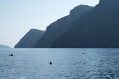 Nea Kameni. The volcanic island Nea Kameni seen across Santorini`s caldera from Thirasia Island Royalty Free Stock Image