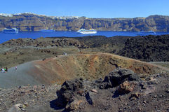 Nea Kameni volcano,cruises and Santorini island Stock Photo