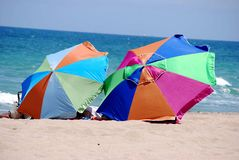 Neach Umbrellas on the Caribbean Shore Royalty Free Stock Image