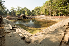 Neak Pean. Pool panoramic view Royalty Free Stock Photo