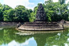 Neak Pean Temple The entwined serpents royalty free stock images