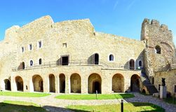 Neamt fortress - Romania. Image of the facade of Neamt fortress with arcade and rooms Royalty Free Stock Photography