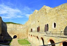 Neamt fortress - Romania. Image of the facade of Neamt fortress with arcade and rooms Stock Photography