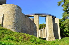 Neamt fortress - Romania. Image of the facade of Neamt fortress with bridge access and pillars Royalty Free Stock Photo