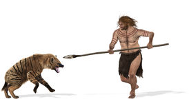 Neanderthal. Digital illustration of a fight between a cave hyenna and a neanderthal Royalty Free Stock Photo