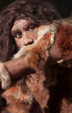 Neanderthal expression. Close view of a neanderthal man, focused in eyes expression Royalty Free Stock Image