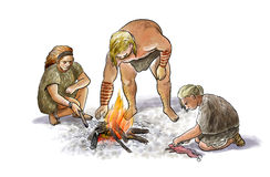 Neanderthal family. Digital illustration of a group of neanderthals with cooking fire royalty free illustration