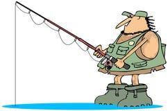 Neanderthal fisherman stock illustration