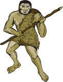Neanderthal Man Holding Spear Etching Stock Photo