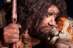 Neanderthal. Man, an ancestor of the human kind, with a great expression stock photography