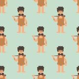 Neanderthal primitivo dos desenhos animados da Idade da Pedra do homem das cavernas sem emenda ilustração royalty free