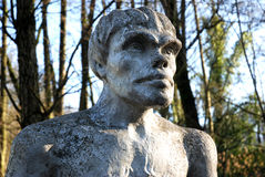 Neanderthal. Sculpture of a neanderthal cave man in front of the Neanderthal museum in germany stock image