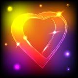 Neaon心脏 免版税库存图片
