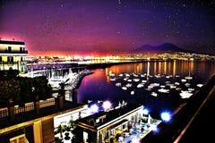 Neapel-Nachtansicht Stockbilder