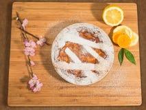 Neapolitan πίτα Πάσχας που ψεκάζεται με τη ζάχαρη τήξης και που διακοσμείται με το άνθος αμυγδάλων και τους νωπούς καρπούς Στοκ Φωτογραφία