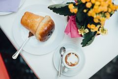 Neapolitan breakfast on the table royalty free stock photography