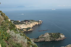 Neapolitan coast. Landscape of the sea coast of Naples where are deduced the indentations of the rocks Royalty Free Stock Image