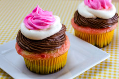 Neapolitan Cupcakes. Neapolitan frosted cupcakes on white square plate with yellow gingham checked tablecloth Royalty Free Stock Photos