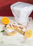 Neapolitan easter pie sprinkled with icing sugar and decorated with almond blossom and fresh fruits. Royalty Free Stock Photo