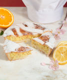Neapolitan easter pie sprinkled with icing sugar and decorated with almond blossom and fresh fruits. Stock Photos